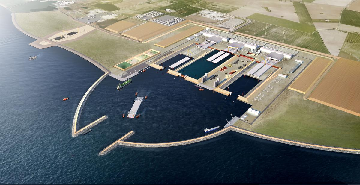 Visualisation of the work harbour and tunnel factory.